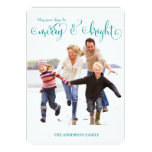 311 Merry & Bright Blue Holiday Photo Card Personalized Announcement