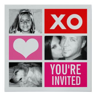 311-Metallic Triple Square Valentine Invitation