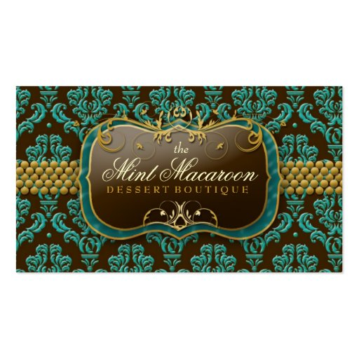 311-Mint Macaroon Damask Pack Of Standard Business Cards