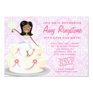 """311 Miss Wright 2 African American Damask 5"""" X 7"""" Invitation Card"""