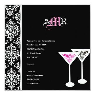 311-Monogram Damask Glass Pink Custom Invite
