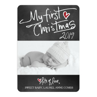 311 My First Christmas Chalkboard Typography 13 Cm X 18 Cm Invitation Card