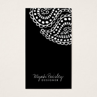 311-Myah Paisley Solid | Black Business Card