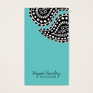 311-Myah Paisley Solid | Turqouoise Business Card