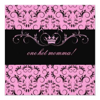 311-Night diVine Pink Baby Shower 13 Cm X 13 Cm Square Invitation Card