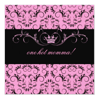 "311-Night diVine Pink Baby Shower 5.25"" Square Invitation Card"