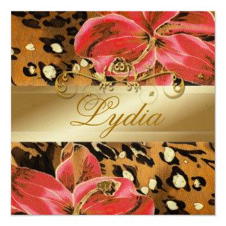 311 Orange Wild Tiger  Lily Golden Metallic 13 Cm X 13 Cm Square Invitation Card