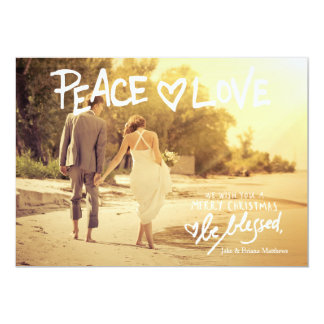 311 Peace Love Handwritten Typography Holiday Card 13 Cm X 18 Cm Invitation Card