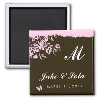 311-PINK CHOCOLATE SAVE THE DATE SQUARE MAGNET