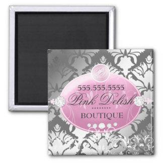 311-Pink Delish Damask Shimmer | Faux Silver Square Magnet
