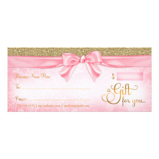 311 Pink Faux Glitter Gift Certificate Rack Cards