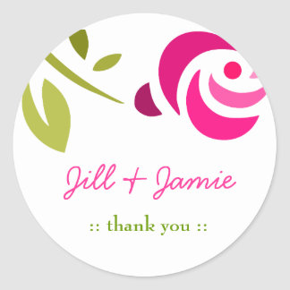 311-PINK ROSE EXTROIDINAIRE CLASSIC ROUND STICKER