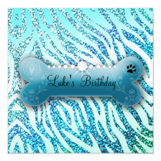 311 Posh Pooch Birthday Glitter Zebra 13 Cm X 13 Cm Square Invitation Card