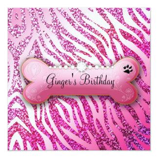 """311 Posh Pooch Birthday Invite Glitter Zebra 5.25"""" Square Invitation Card"""