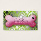 311 Posh Pooch Damask Shimmer Green Grass Business Card