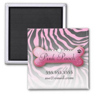 311 Posh Pooch Pink Zebra Square Magnet