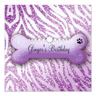 311 Posh Pooch Purple Birthday Invite Zebra