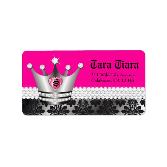 311 Princess Diva Heart Diamonds Address Label