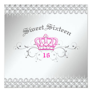 311-Queen for a Day | Sweet Sixteen Hott Pink 13 Cm X 13 Cm Square Invitation Card