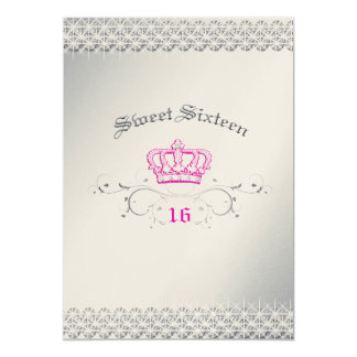 311-Queen for a Day | Sweet Sixteen Hott Pink 13 Cm X 18 Cm Invitation Card