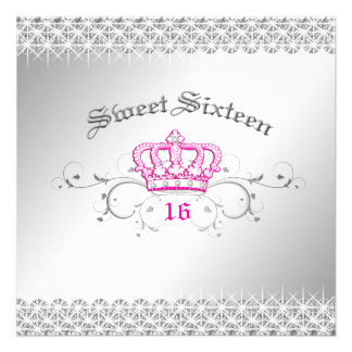 311-Queen for a Day Sweet Sixteen Hott Pink Invitation