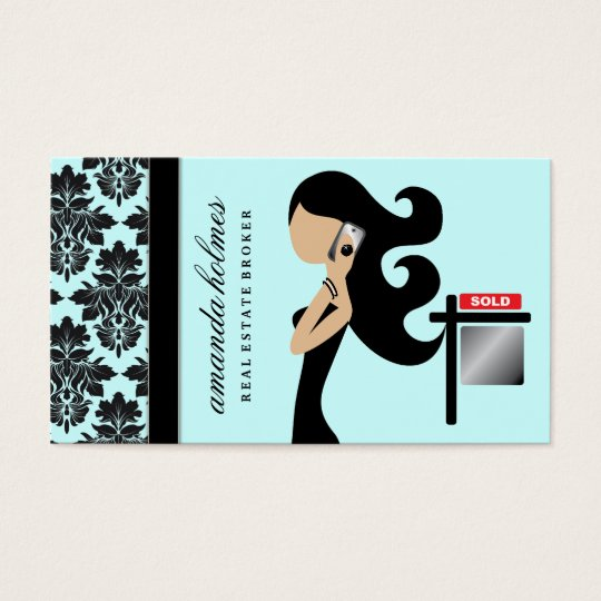 311 Real Estate Fashionista Brunette Black Business Card