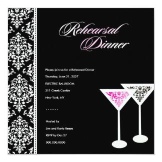 311-Rehearsal Dinner Damask Glass Pink 13 Cm X 13 Cm Square Invitation Card