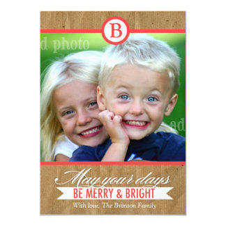 311 Rustic Vintage Merry & Bright Holiday Card