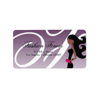311 Sassy African American Fashionista Long Label Address Label