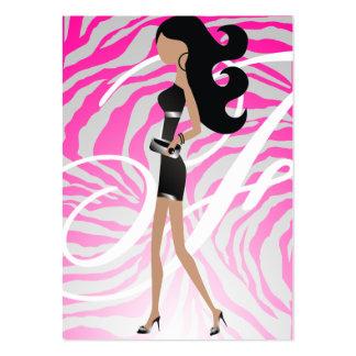 311-Sassy Fashionista Monogram Hot Pink Business Card Templates