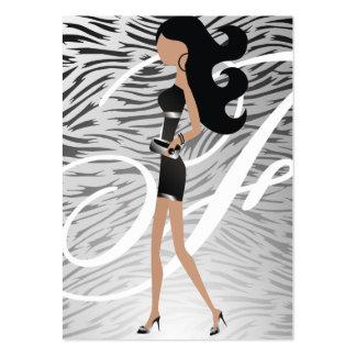 311-Sassy Fashionista Monogram Silver | Hip Zebra Business Card Templates