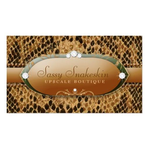311-Sassy Snakeskin - Gold & Green Business Card Templates