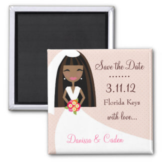 311-SAVE THE DATE AFRICAN AMERICAN BRIDE FRIDGE MAGNET