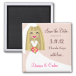311-SAVE THE DATE BLONDE BRIDE SQUARE MAGNET