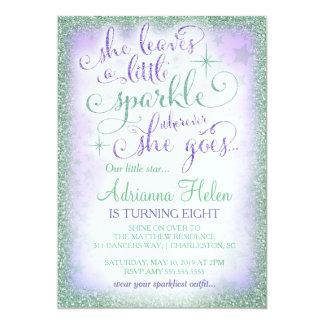 311 She Leaves a Little Sparkle Purple Mint 13 Cm X 18 Cm Invitation Card