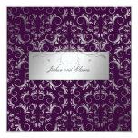 311-Silver Divine | Eggplant 13 Cm X 13 Cm Square Invitation Card