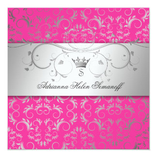 311-Silver Divine Hott Pink 13 Cm X 13 Cm Square Invitation Card