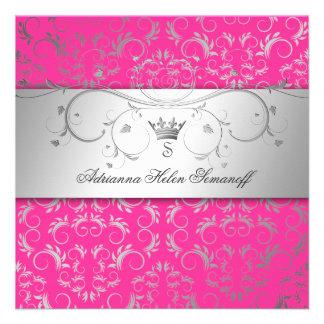 311-Silver Divine Hott Pink Invitations