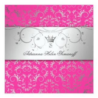 "311-Silver Divine Hott Pink 5.25"" Square Invitation Card"