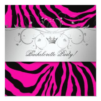 311-Silver Divine Hott Pink Zebra Bachelorette Card