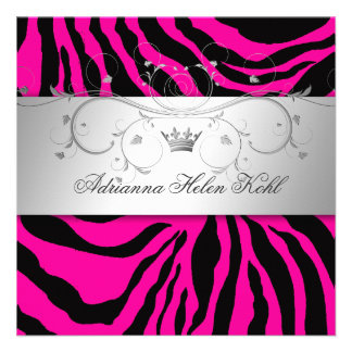 311-Silver Divine Hott Pink Zebra Lingerie Personalized Invitations