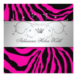 "311-Silver Divine Hott Pink Zebra Lingerie 5.25"" Square Invitation Card"