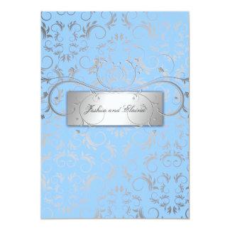 311-Silver Divine | Light Blue 13 Cm X 18 Cm Invitation Card