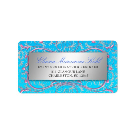 311 Silver Divine Pink Swirls Blue Tropical Fade Address Label