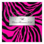 311-Silver Divine Zebra Hott Pink Sweet Sixteen Custom Invitation