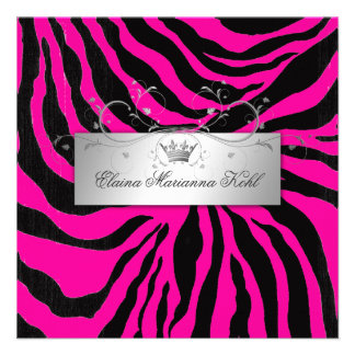 311-Silver Divine Zebra Hott Pink Sweet Sixteen Personalized Invite