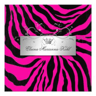311-Silver Divine Zebra Hott Pink Sweet Sixteen Personalized Invite