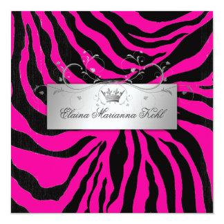 311-Silver Divine Zebra Hott Pink Sweet Sixteen 5.25x5.25 Square Paper Invitation Card