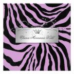 311-Silver Divine Zebra  Purple Sweet Sixteen Invitations