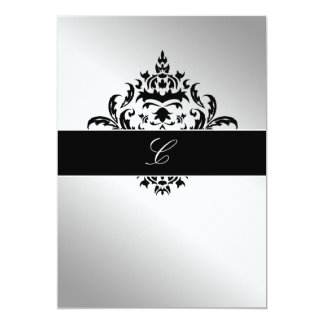 311-Simplisticly Elegant Damask Silver 13 Cm X 18 Cm Invitation Card